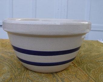 Vintage Blue Stripe Mixing or Serving Bowl USA Roseville