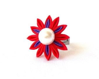 Red and Purple Flower Ring Tsumami Kanzashi Statement Jewelry Adjustable