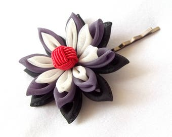 Purple and Red Lotus Hair Pin Unique Kanzashi Water Lily Flower