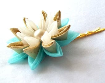 Aqua and Gold Water Lily Bobby Pin Wearable Fiber Art Fabric Flower Kanzashi
