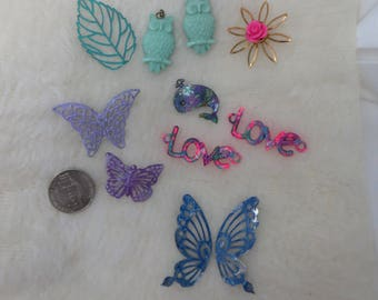 Hand Painted Charms and Findings Fun and Whimsical Charms Metal and Plastic Patina Painted Pinks Purples Blues Butterflies and Owls Love