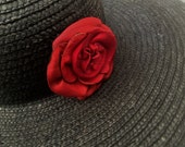 red leather rose flower hat pin brooch by Tuscada. Ready to ship.