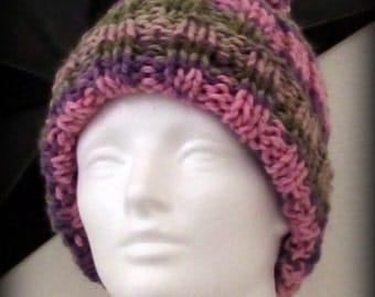 Hand knit hat - knit hat - pom pom knit hat -pink knit hat - knit hat - purple knit hat - knit beanie - green knit hat - pom pom - hat