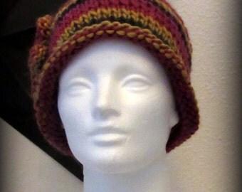 knit hat - knit cap - hand knit hat - burgundy blended knit hat - knit beanie - Merino wool knit hat - orange blended hat - gold blended hat