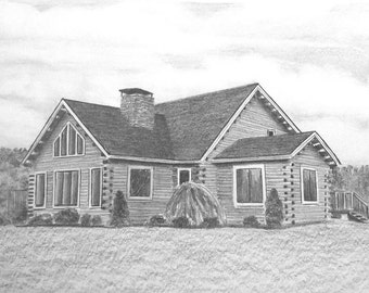 Custom Pencil Drawing From Your Photo - 5x7 Original House Home Landscape Sketch Art From Picture