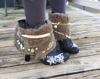 Boho Upcycled Boots