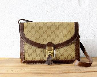 Gucci Monogram Purse • Vintage Gucci Bag • Designer Bag Made in Italy • Leather Clutch Purse • Gucci Purse • Convertible Bag   GB003