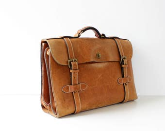 J Peterman Aviator Briefcase • Brown Leather Briefcase • 90s Bag • Vintage Briefcase • Leather Briefcase Women • Leather Briefcase Men |B836