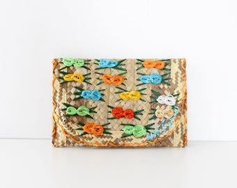 Rainbow Purse • Straw Clutch • Raffia Clutch • Colorful Purse • Raffia Purse • Colorful Clutch • Summer Clutch • Straw Purse | B852