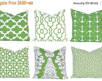 15% Off Sale Kelly Green Pillows, Pillow Covers, Decorative Throw Pillow Covers, Green Cushion Covers, Kelly Green Greek Key, St. Patrick's