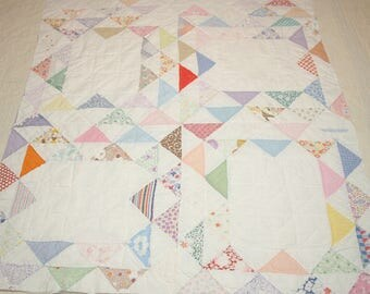 Sweet Flying Geese or Ocean Wave Style Vintage Quilt Piece - Entirely Handmade - 31 x 23 Inches