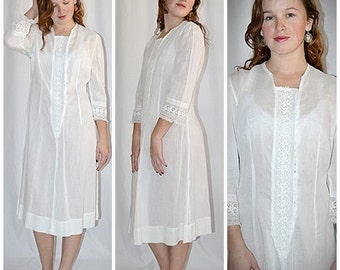 Antique White Cotton Shadow Stripe Night Gown or Shift Dress With Wide Embroidered Trim Bust to 42 Inches