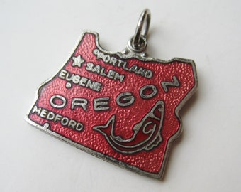 Vintage Charm 50s Silver Enamel Oregon State The Grotto Portland Souvenir Bracelet Charm