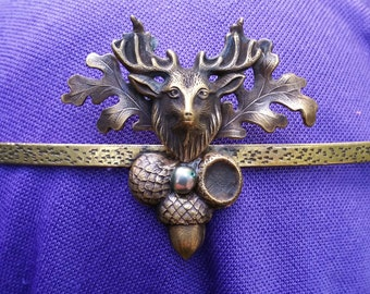 Elk Deer Face with Acorns on Texured Brass Band Circlet Headpiece