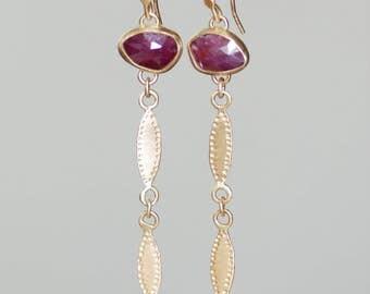 Long Dark Pink Sapphire Petal Earrings - 14k Gold and Sapphire Dangle Earrings