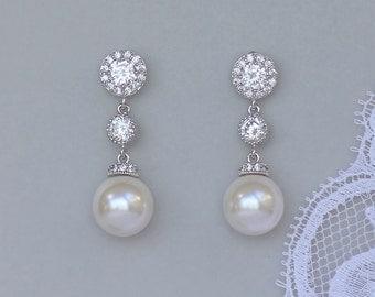 Bridal Earrings, Pearl Drop Earrings, Swarovski Pearl and Crystal Wedding Earrings, SISSY