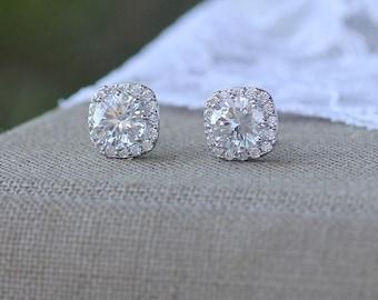 Crystal Stud Earrings, Crystal Bridal Earrings, Crystal Diamond Studs, Square Crystal Stud Earrings, Zircon Bridemaids Earrings, RIKKI