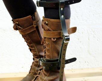 Unisex Leather High Boot Garter - Black Satin - steampunk - burning man - festivals - apocalypse - mad max, Please read Description for size