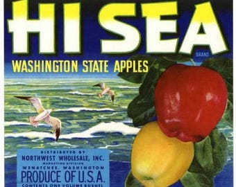 1950s Hi Sea Washington State Red Apples Seagulls Ocean Original Crate Label