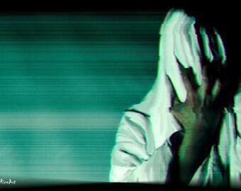 Horror Print - Transmission, Spooky, TV ,A3,Horror Scene,Dark Print,Digital Art,Horror Art,Dark Art, Creepy Print, Glitch, Static