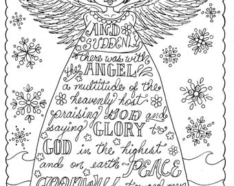 christmas angel christian coloring page adult coloring books pages scriptures - Christian Coloring Book