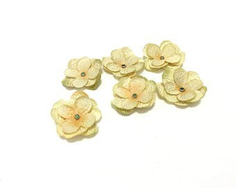 6 Hydrangea Flowers in Banana Yellow with Sparkly Green Rhinestone Brads, Silk Flowers, Artificial Flowers, Hair Accessories, Hat, Millinery