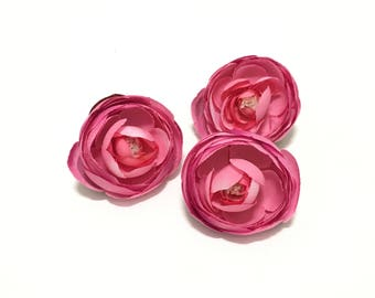 Silk Flowers - THREE Silk Ranunculus Flowers in FUCHSIA - 2.75 - 3 Inches - Artificial Flowers