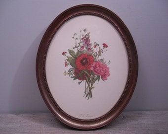 floral botanical print by j.l. prevost / oval framed flowers wall art / litho lithograph