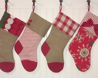 Burlap and Red Ticking Christmas Stocking Family Set of 4  with Red Plaid Christmas Country Farmhouse