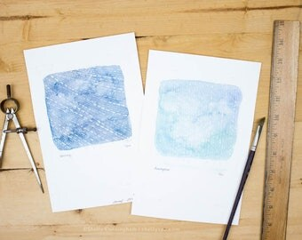 Downpour & Stormy - Original watercolor and ink illustrations of Rain on watercolor paper