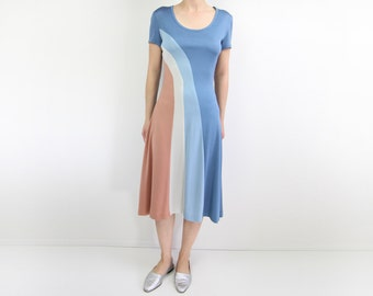 VINTAGE 1970s Dress Pastel Stripe Long