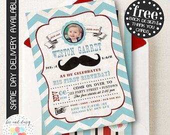 Mustache Birthday Invitation, Mustache First Birthday Invitation, Mustache Party, Boy First Birthday, Boy Birthday, Mustache Invite