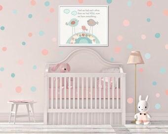 Girl Nursery Decor, Girl Nursery Art, Baby Girl Nursery Wall Art, Baby Girl Nursery, Pink and Mint, polka dot stickers plus baby girl print