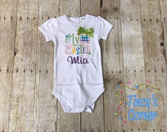 My First Easter Appliqued Short Puff Sleeve Bodysuit