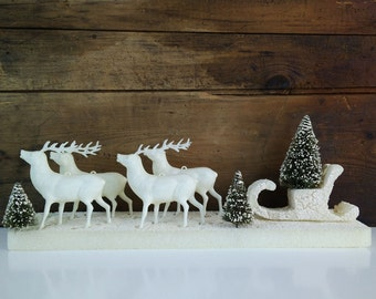 Vintage Celluloid Reindeer with Bottle Brush Trees, Sleigh and Base in original box