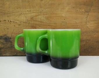 Green Fire King Mugs / Vintage Stacking Coffee Cups, Set of 2