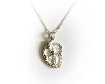 Conduction Heart Necklace in Sterling Silver and Sapphires