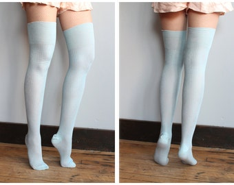 Late 20s Early 30s Stockings // Blue Hand Knit Thigh High Stockings // vintage 1920s 1930s hosiery