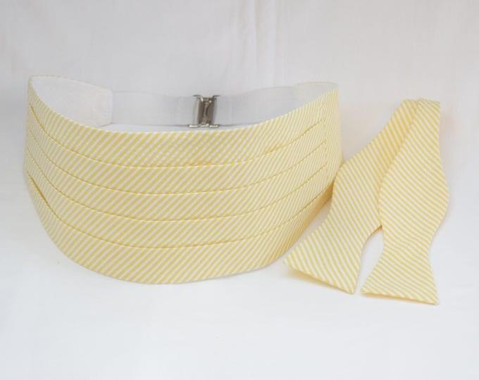 Cummerbund & Bow Tie, yellow seersucker, groom/groomsmen cummerbund, formal wedding party attire, tuxedo accessory, southern wedding wear