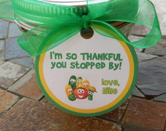"""40 Birthday Favor Custom 2"""" Tags - Child's Birthday Party Tags - for Mason Jar Favors - Cookie Favors - Party Favors - I'm So Thankful"""