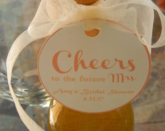 """Bridal Shower Cheers to the Future Mrs. Custom 2"""" Thank You Favor Tags - For Mini Wine and Champagne Bottles - Liquor Bottles - (60) Tags"""