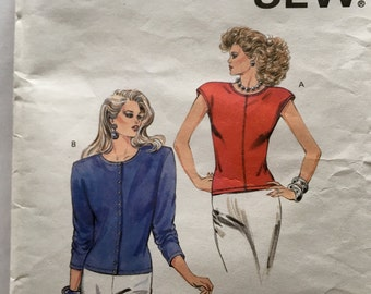 80s Kwik Sew 1602 Blouse with Extended Shoulders, Cap Sleeves, Shoulder Pads