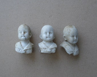 3 Antique German Thuringia Bisque Boy/Male Broken Shoulder Plate Doll Heads for Assemblage Mixed Media Projects