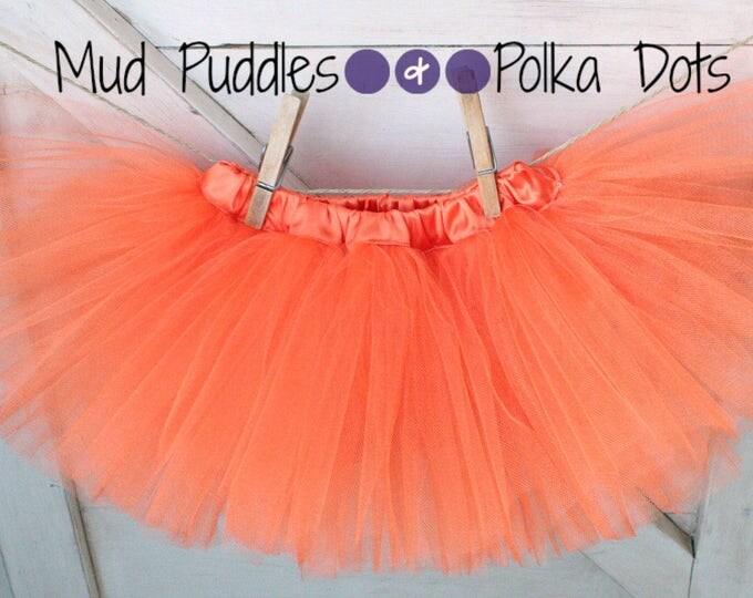 Orange Satin Lined Tutu Skirt with Satin Waistband - baby, infant, toddler, girl, halloween, thanksgiving, pumpkin, broncos, bears, CTT56