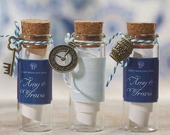 Small Glass Bottle With Cork Stopper Wedding Favor (Set of 6), DIY Favor, Beach Wedding Favor, Message in a Bottle Favor,  - Item 9335