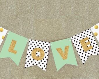 love gold sticker banner wedding shower decor wedding shower bunting flags bridal shower