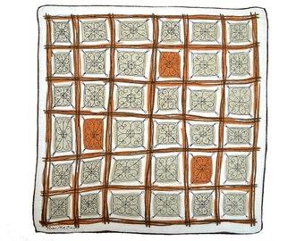 VINTAGE DESIGNER HANKIE Ann McCann Geometric Grid Rust Tan White Brown White Hand Rolled Hem Rare Linen Signed 1950s, Mid-Century