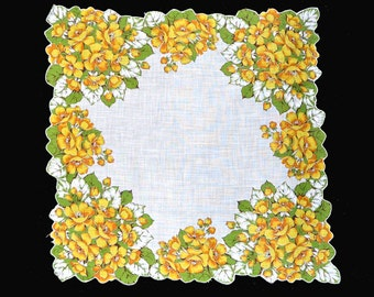 VINTAGE HANKIE Dense Border of Yellow Flowers and Green Leaves on White Field, Corded Hem Follows Contour of Flowers Excellent Condition