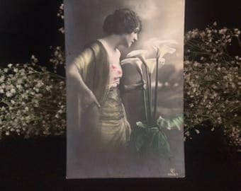 Antique Photo Postcard - Woman with Calla Lilies - Twenties - 1920's - Gatsby Era