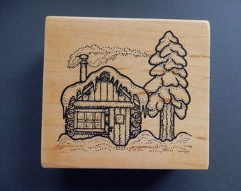 Snowy Cottage - Forest- Christmas -  WM rubber stamp  (1)